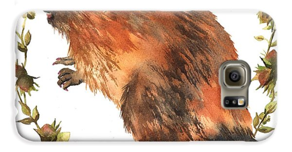 Beaver Painting Galaxy S6 Case by Alison Fennell