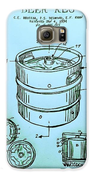 Beer Keg 1994 Patent - Blue Galaxy S6 Case by Scott D Van Osdol