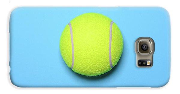 Big Tennis Ball On Blue Background - Trendy Minimal Design Top V Galaxy S6 Case by Aleksandar Mijatovic