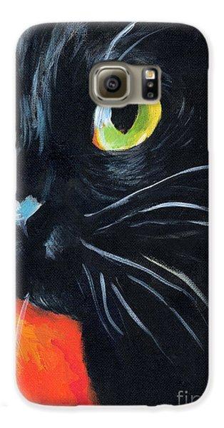 Black Cat Painting Portrait Galaxy S6 Case by Svetlana Novikova