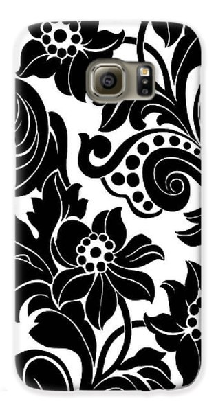 Black Floral Pattern On White With Dots Galaxy S6 Case by Gillham Studios