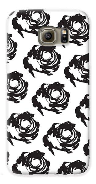 Black Rose Pattern Galaxy S6 Case by Cortney Herron