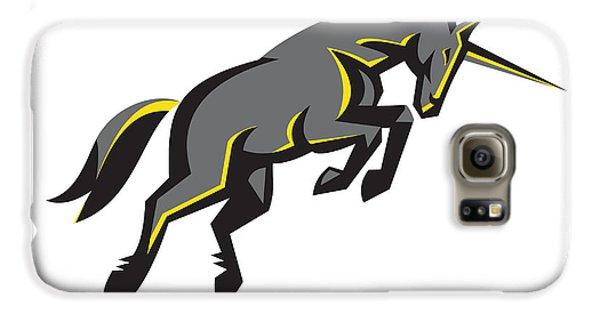 Black Unicorn Horse Charging Isolated Retro Galaxy S6 Case by Aloysius Patrimonio