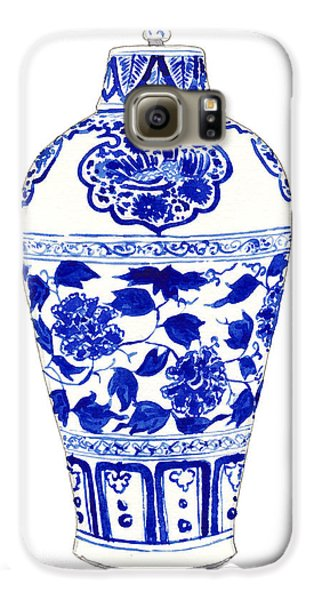 Blue And White Ginger Jar Chinoiserie Jar 1 Galaxy S6 Case by Laura Row
