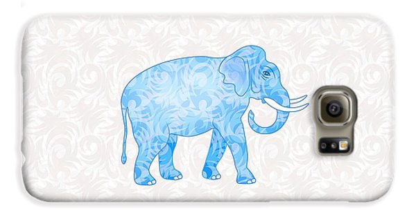 Blue Damask Elephant Galaxy S6 Case by Antique Images