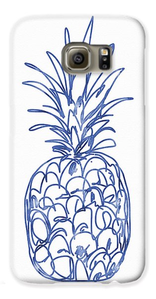 Blue Pineapple- Art By Linda Woods Galaxy S6 Case by Linda Woods