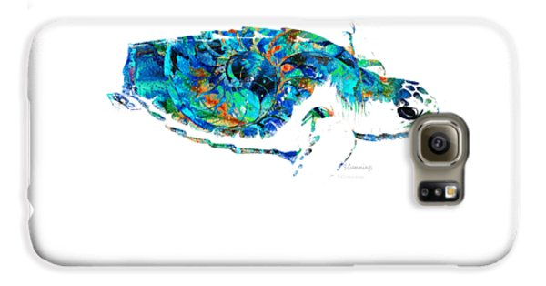 Blue Sea Turtle By Sharon Cummings  Galaxy S6 Case by Sharon Cummings