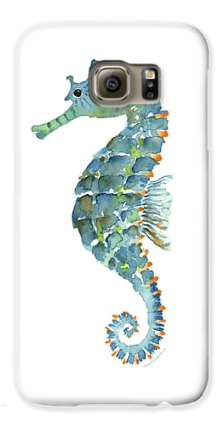 Blue Seahorse Galaxy S6 Case by Amy Kirkpatrick