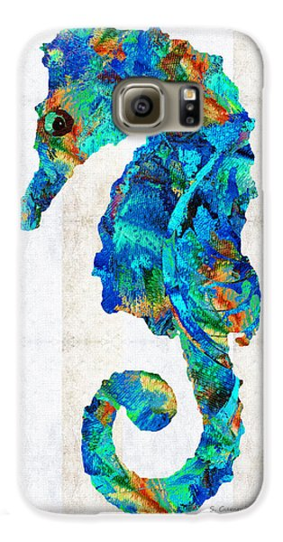Blue Seahorse Art By Sharon Cummings Galaxy S6 Case by Sharon Cummings