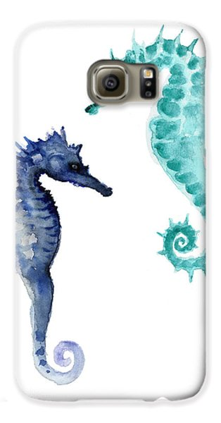 Blue Seahorses Watercolor Painting Galaxy S6 Case by Joanna Szmerdt
