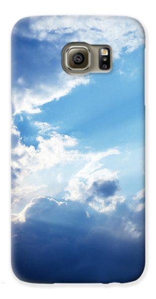 Blue Sky And Clouds With Sun Light Galaxy S6 Case by Jozef Klopacka