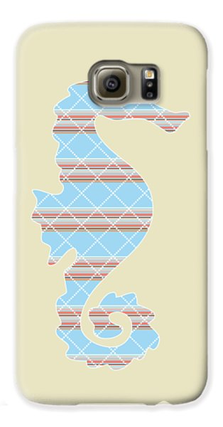Blue Stripe Pattern Aged Galaxy S6 Case by Christina Rollo