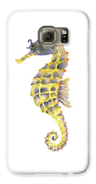Blue Yellow Seahorse - Square Galaxy S6 Case by Amy Kirkpatrick