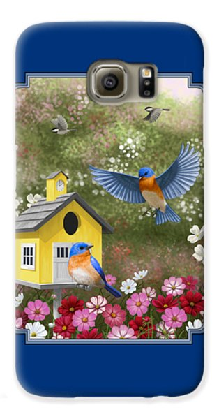Bluebirds And Yellow Birdhouse Galaxy S6 Case by Crista Forest