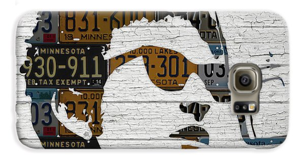 Bob Dylan Minnesota Native Recycled Vintage License Plate Portrait On White Wood Galaxy S6 Case by Design Turnpike