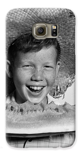 Boy Eating Watermelon, C.1940-50s Galaxy S6 Case by H. Armstrong Roberts/ClassicStock