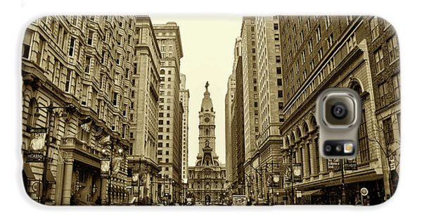 Broad Street Facing Philadelphia City Hall In Sepia Galaxy S6 Case by Bill Cannon