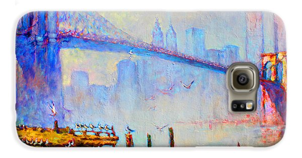 Brooklyn Bridge In A Foggy Morning Galaxy S6 Case by Ylli Haruni