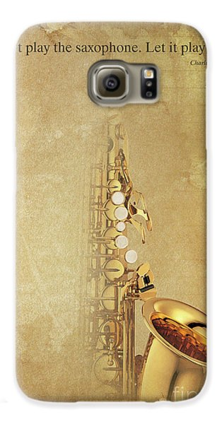 Charlie Parker Saxophone Brown Vintage Poster And Quote, Gift For Musicians Galaxy S6 Case by Pablo Franchi