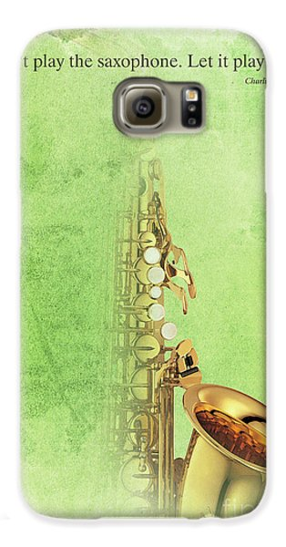 Charlie Parker Saxophone Green Vintage Poster And Quote, Gift For Musicians Galaxy S6 Case by Pablo Franchi