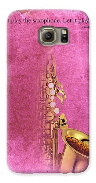 Charlie Parker Saxophone Light Red Vintage Poster And Quote, Gift For Musicians Galaxy S6 Case by Pablo Franchi