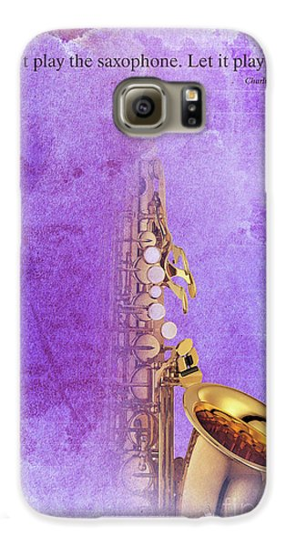 Charlie Parker Saxophone Purple Vintage Poster And Quote, Gift For Musicians Galaxy S6 Case by Pablo Franchi