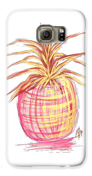 Chic Pink Metallic Gold Pineapple Fruit Wall Art Aroon Melane 2015 Collection By Madart Galaxy S6 Case by Megan Duncanson