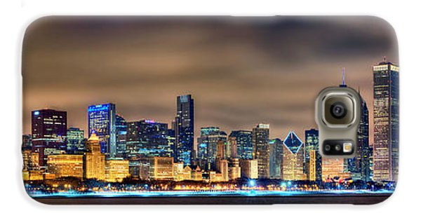 Chicago Skyline At Night Panorama Color 1 To 3 Ratio Galaxy S6 Case by Jon Holiday