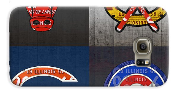 Chicago Sports Fan Recycled Vintage Illinois License Plate Art Bulls Blackhawks Bears And Cubs Galaxy S6 Case by Design Turnpike