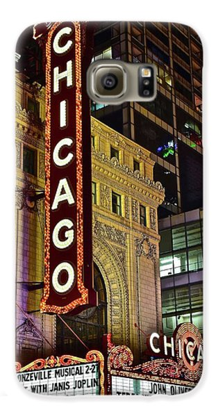 Chicago Theater Aglow Galaxy S6 Case by Frozen in Time Fine Art Photography
