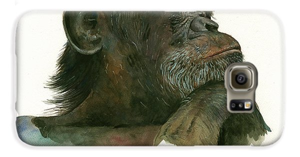 Chimp Portrait Galaxy S6 Case by Juan Bosco