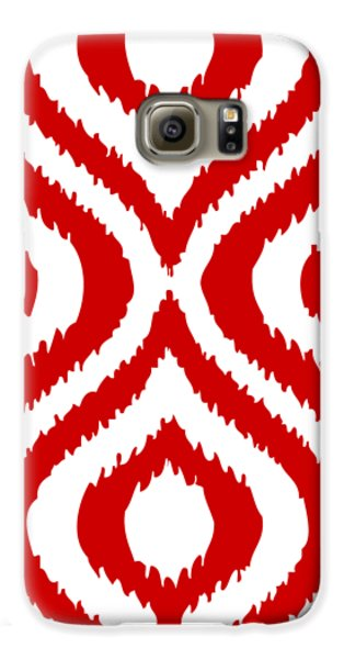 Circle And Oval Ikat In White T02-p0100 Galaxy S6 Case by Custom Home Fashions