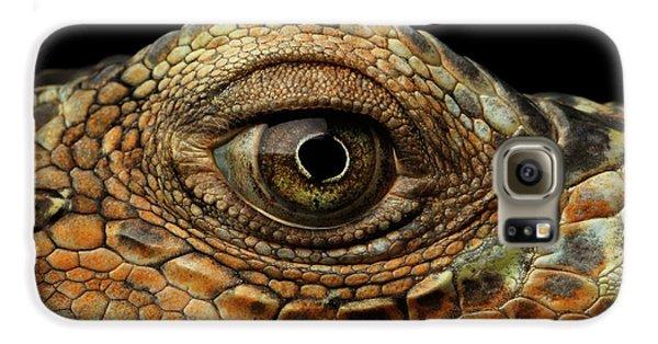 Closeup Eye Of Green Iguana, Looks Like A Dragon Galaxy S6 Case by Sergey Taran