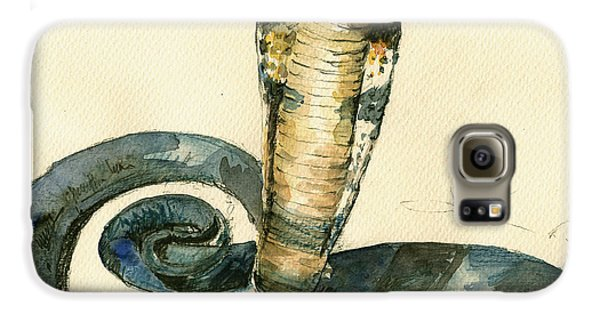 Cobra Snake Watercolor Painting Art Wall Galaxy S6 Case by Juan  Bosco
