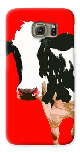 Cow In Red World Galaxy S6 Case by Peter Oconor
