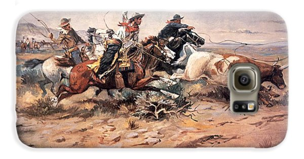 Cowboys Roping A Steer Galaxy S6 Case by Charles Marion Russell