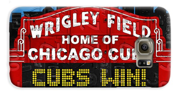 Cubs Win Wrigley Field Chicago Illinois Recycled Vintage License Plate Baseball Team Art Galaxy S6 Case by Design Turnpike