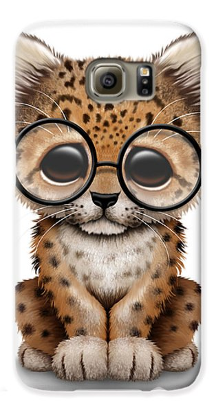 Cute Baby Leopard Cub Wearing Glasses Galaxy S6 Case by Jeff Bartels