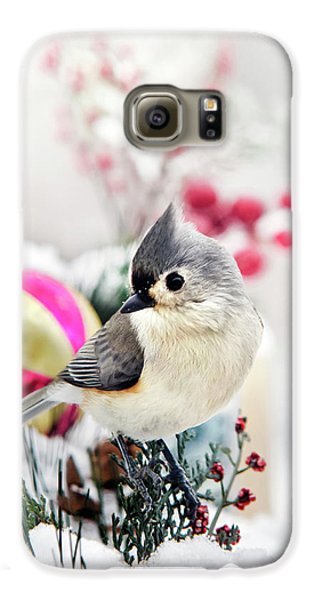 Cute Winter Bird - Tufted Titmouse Galaxy S6 Case by Christina Rollo