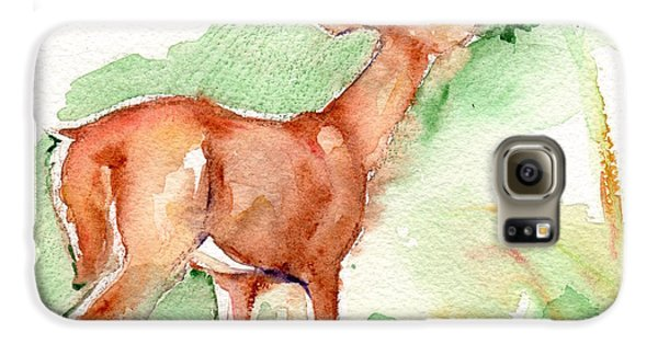 Deer Painting In Watercolor Galaxy S6 Case by Maria's Watercolor