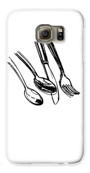 Diner Drawing Spoons, Knife, And Fork Galaxy S6 Case by Chad Glass