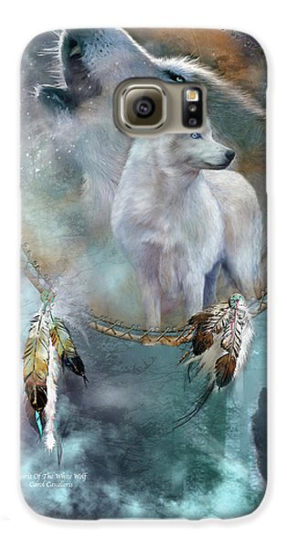 Dream Catcher - Spirit Of The White Wolf Galaxy S6 Case by Carol Cavalaris