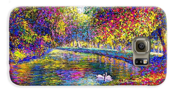 Drifting Beauties, Swans, Colorful Modern Impressionism Galaxy S6 Case by Jane Small