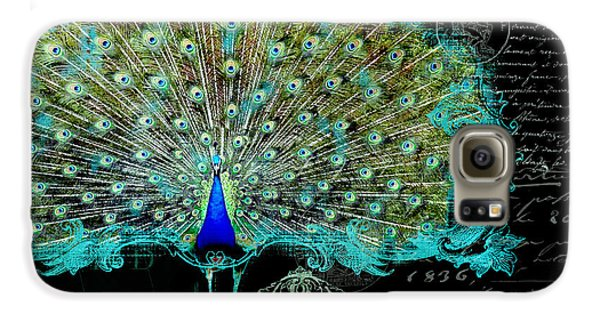 Elegant Peacock W Vintage Scrolls 3 Galaxy S6 Case by Audrey Jeanne Roberts