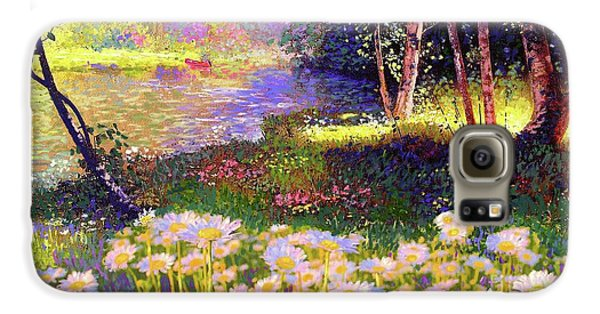 Enchanted By Daisies, Modern Impressionism, Wildflowers, Silver Birch, Aspen Galaxy S6 Case by Jane Small