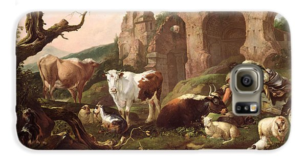 Farm Animals In A Landscape Galaxy S6 Case by Johann Heinrich Roos