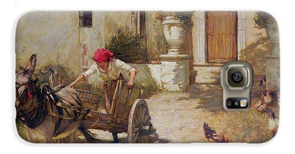Farm Yard Scene Galaxy S6 Case by Henry Herbert La Thangue