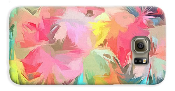 Fireworks Floral Abstract Square Galaxy S6 Case by Edward Fielding
