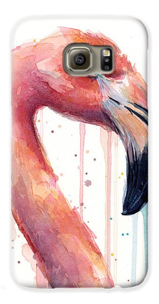 Flamingo Painting Watercolor - Facing Right Galaxy S6 Case by Olga Shvartsur