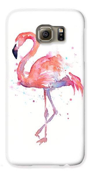 Flamingo Watercolor Galaxy S6 Case by Olga Shvartsur